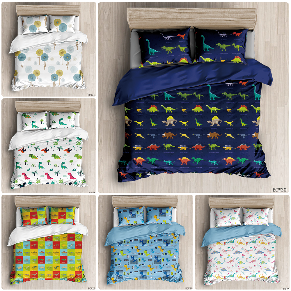 Blue Dinosaurs Animal Duvet Cover Sets Custom Bed Linens Bedding Sets With Pillowcase King Size Bedclothes Comforter Covers