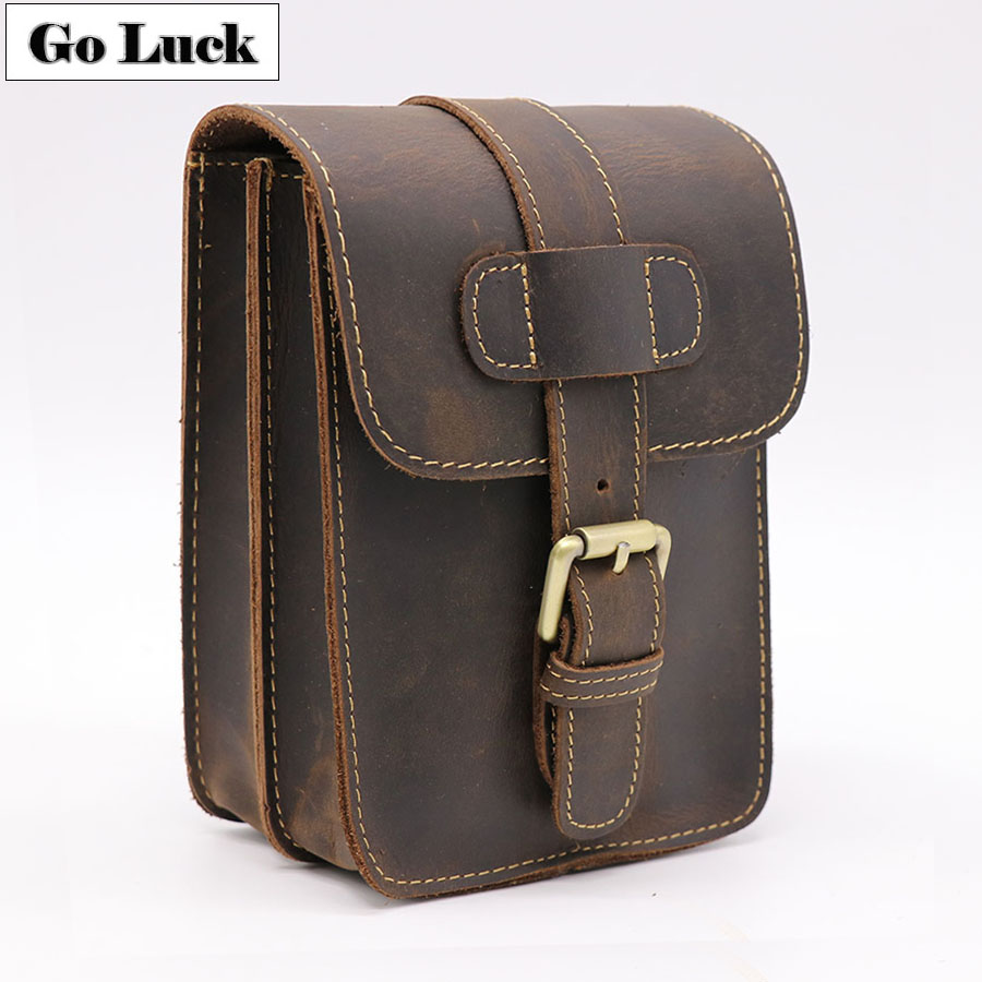 GO-LUCK Brand Casual 7' Cell/Mobile Phone Wallet Punch Case Men's Genuine Leather Belt Cross Waist Pack Hip&Bum Fanny Bags