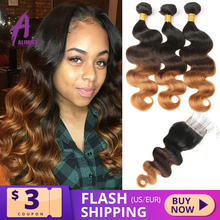 Alimice Ombre Bundles With Closure Highlight Peruvian Body Wave Hair Bundles With Closure T1B/4/30 3Tone Colored Body Wave Hair