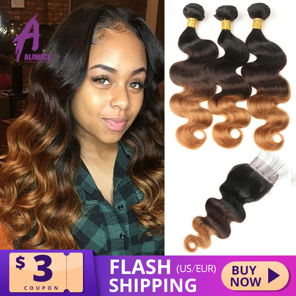 Alimice Ombre Bundles With Closure Peruvian Body Wave Hair Bundles With Closure T1B/4/30 3Tone Colored Body Wave Remy Hair Weave