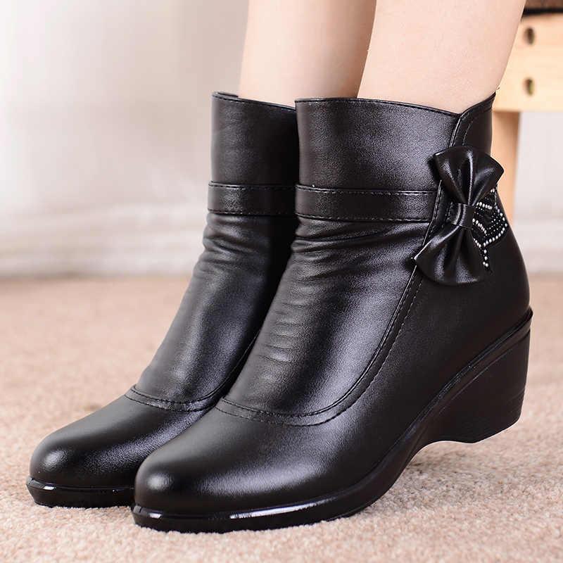 Boog knoop Lederen laarzen Dames Waterdichte Winter schoenen vrouwen pluche Zip enkellaarsjes voor vrouwen Comfortabele wiggen boot