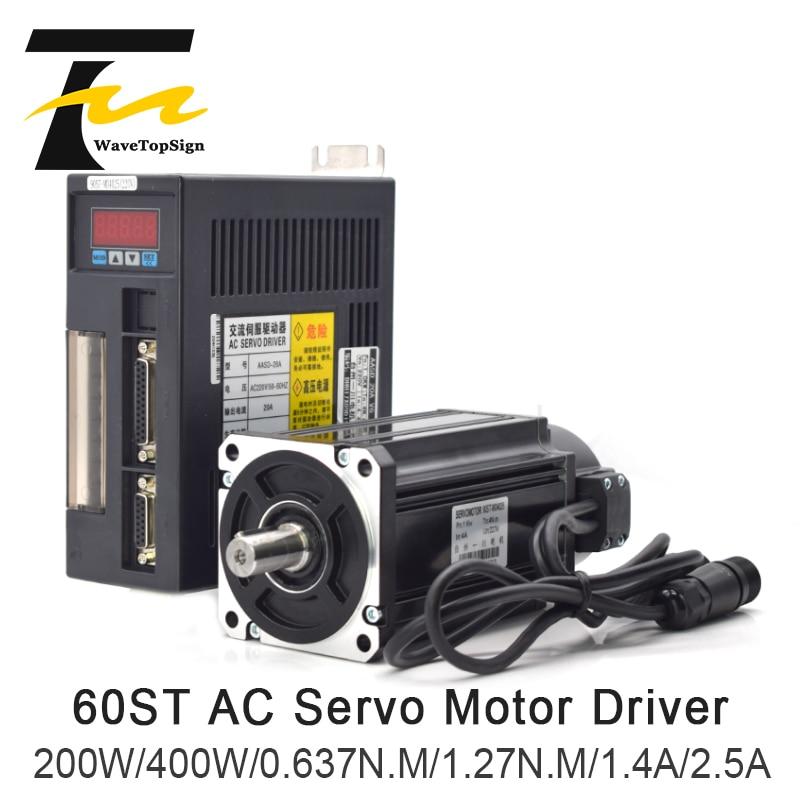 200W 400W 600W AC Servo Motor kits 1.27N.M 3000RPM 60ST-M01330 AC Motor Matched Servo Motor Driver AASD 15A CNC Router Machine