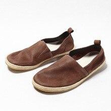 Zapatos informales de cuero vintage de tacto suave con pliegues para perezosos, cómodos zapatos individuales para hombre