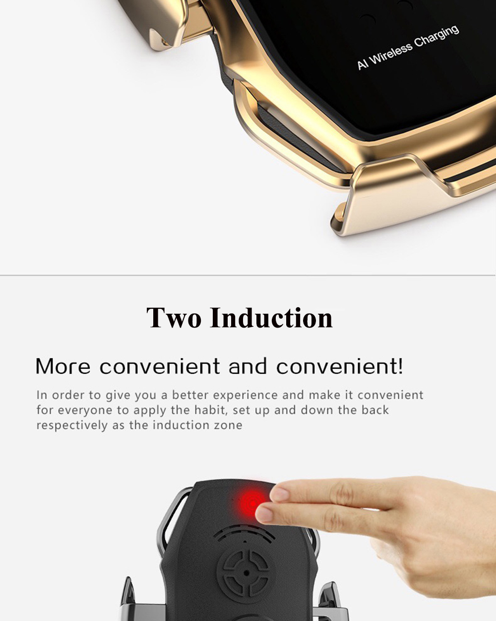 07Two-Point Smart Induction Wireless Charger Car Mount 10W Fast Charge Holder