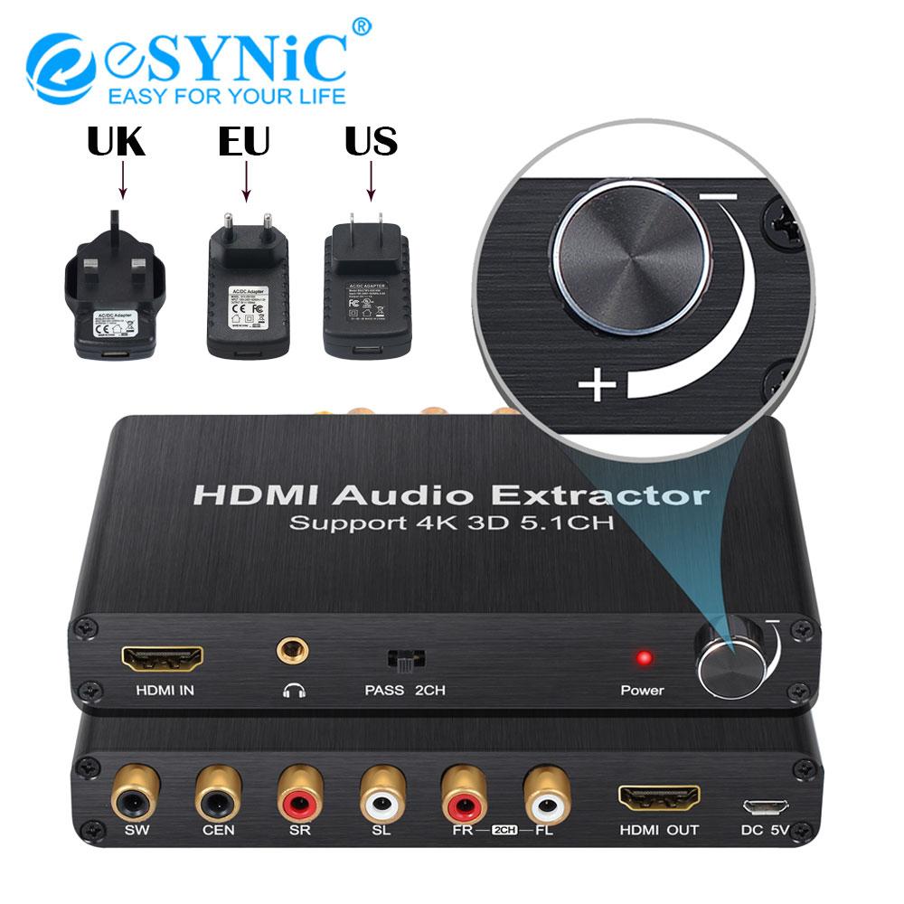 ESYNiC 4K 3D HDMI Audio extracteur optique Toslink SPDIF à 5.1CH RCA 3.5mm sortie Audio stéréo HDMI vers HDMI convertisseur séparateur