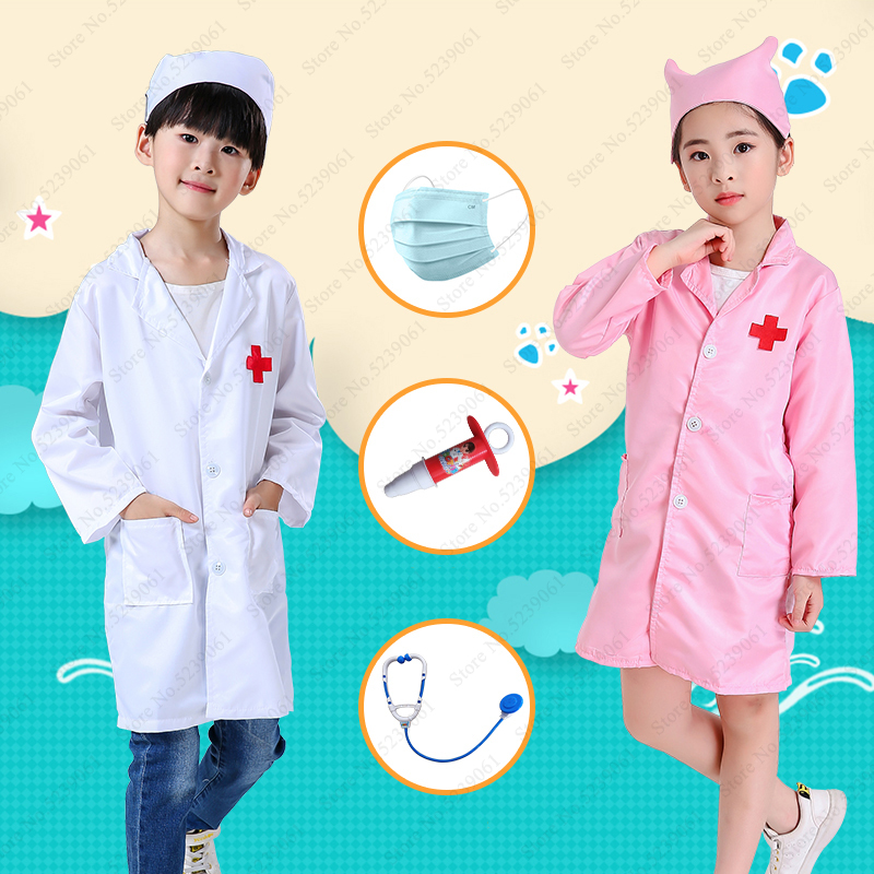 Kids Nurse Doctor Coat Cosplay Costumes Children Hospital Lab Jackets Robes Medical Uniform Role Play Halloween Stage Party Wear