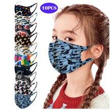 Masque facial en soie glacée imprimé pour enfants, protection contre la poussière et la brume, lavable pour femmes, 1 pièce