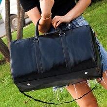 Male Leather Travel Bag Large Duffle Independent PU Leather Storage Big Fitness Bags Handbag Bag Luggage Shoulder Bag Black Sac