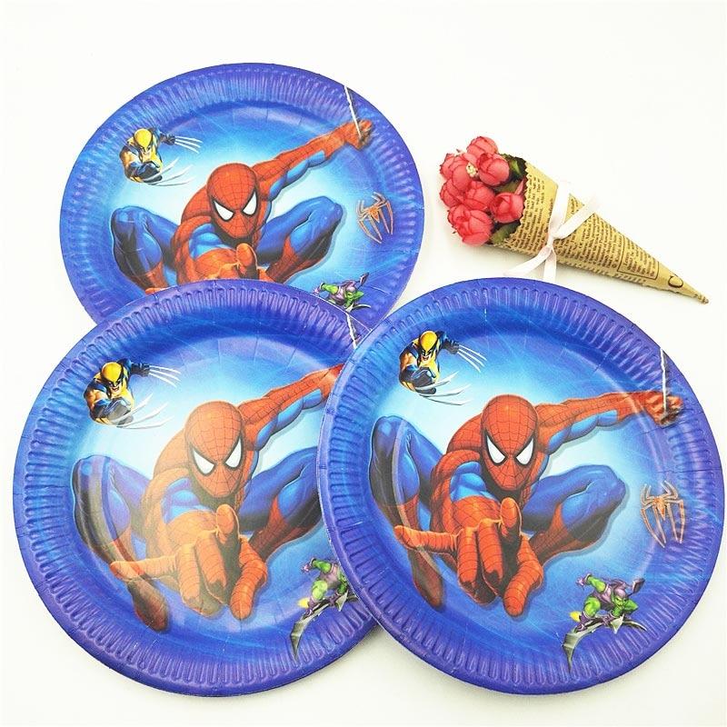 132 pièces Spiderman fête d'anniversaire fournitures enfants nappe pailles tasses assiettes serviette super-héros bébé douche décorations faveurs cadeau - 4
