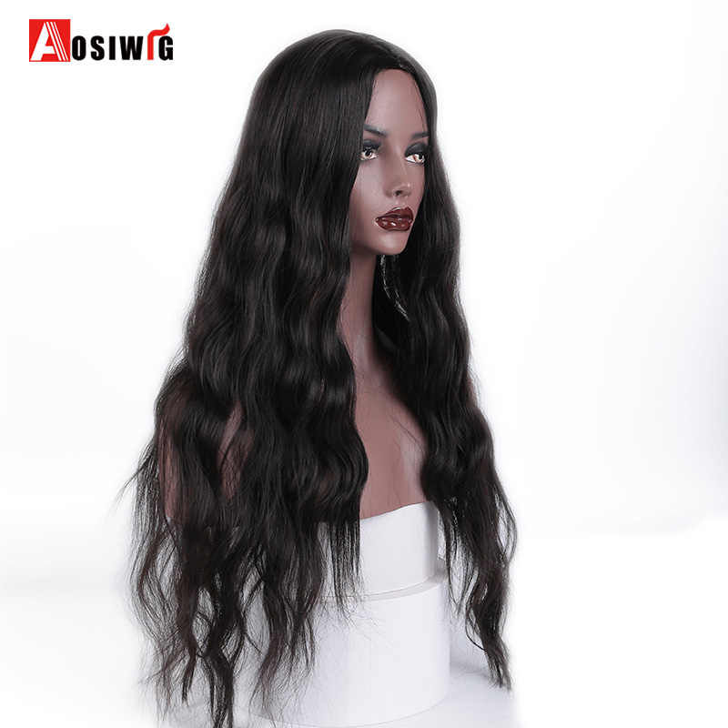 "AOSI 26"" Long Wavy Black Wigs Black Brown Mix Purple Water Wave Synthetic Wig for Women Natural Middle Part Heat Resistant Hair"
