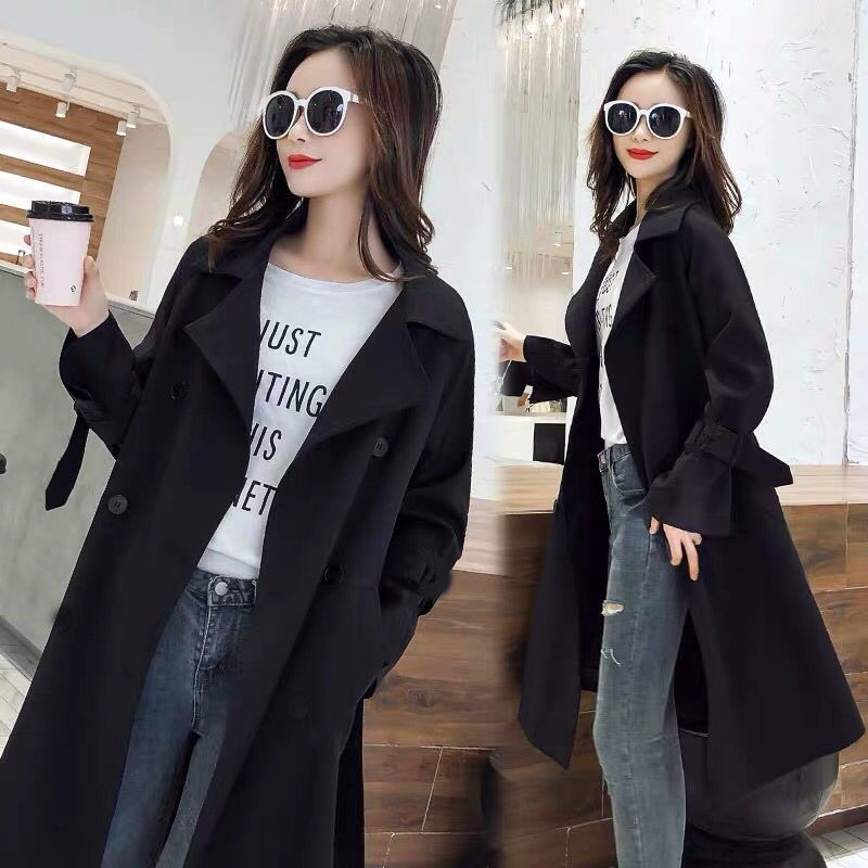 2020 New Fashion Spring Autumn Windbreaker Korean Casual British Wind Black Long Trench Coats For Women Overcoats M162
