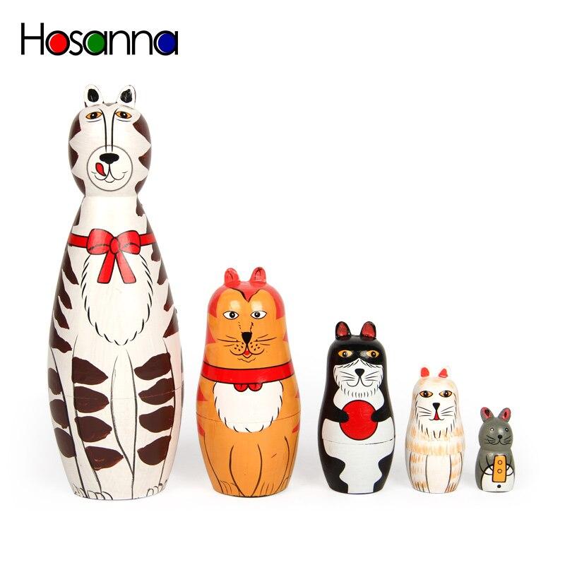 Kätzchen Russische Stacking Nesting Matryoshka Puppen Set Holz Hand Malen Dekoration Katze Sammlungen Spielzeug für Kinder Weihnachten Geschenk
