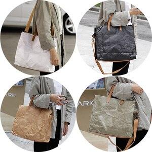 Image 3 - Latest Women Handbags Lady Shoulder Bag Top Kraft Paper Totes Messenger Bag Washable Tear resistant Unique Light Fashion Bag