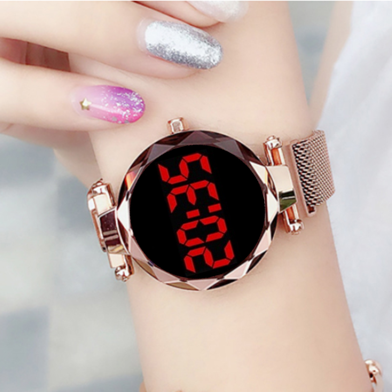 2020 Women's Watch Magnet Starry Sky Digital Women Watches TOP Brand Rose Gold Female Clock Relogio Feminino  Ladies Wrist Watch