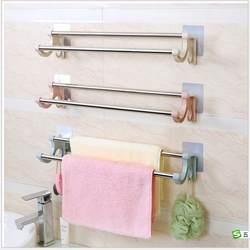 Пробитые отверстия двойные полюса кажущиеся наклейки вешалка для полотенец для ванной туалет из нержавеющей стали навесная подставка для