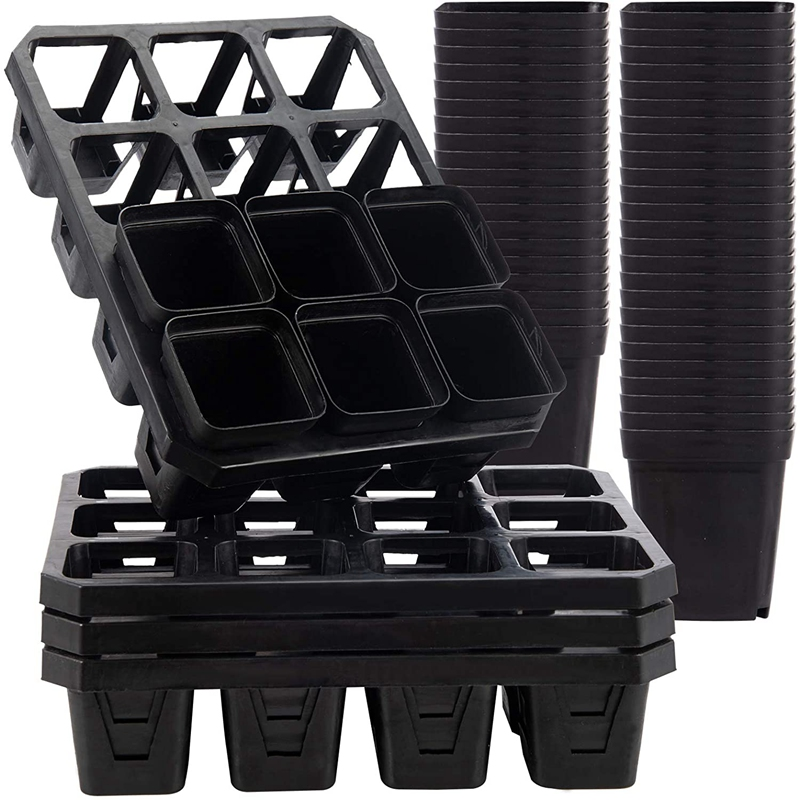 4 Trays and 50 Seedling Trays-12-Unit Garden Water Storage Seedling and Seedling Tray Kit, Plant Propagation Container