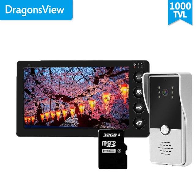 Dragonsview 7 Cal przewodowy wideodomofon domofon do drzwi System czarny rekord 1000TVL wykrywanie ruchu odblokuj kartę SD