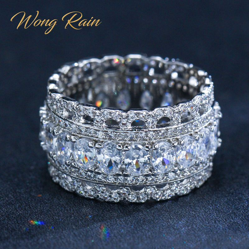 Wong Rain Luxury 925 Sterling Silver Created Moissanite Gemstone Wedding Engagement Party Diamonds Ring Fine Jewelry Wholesale