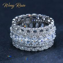 Wong Rain Luxury 925 Sterling Silver Created Moissanite Gemstone Wedding Engagement Party Diamonds Ring Fine Jewelry Wholesale