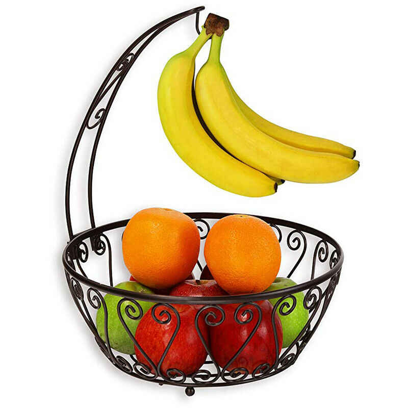 2 en 1 banane crochet arbre cintre avec fruits bol panier support pomme banane Orange fruits cintre Chrome stockage décor à la maison