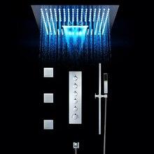 Роскошный душевой кран для ванной комнаты, 16 дюймов, светодиодный светильник, встроенный потолочный термостатический клапан, водопад, душевая головка, Misty