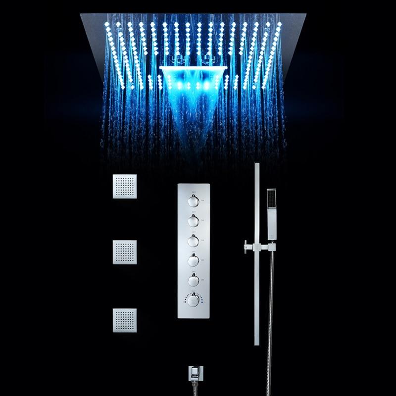 Ensemble de robinet de douche de salle de bains de luxe 16 pouces douches de pluie lumière LED plafond intégré vanne thermostatique cascade pomme de douche Misty