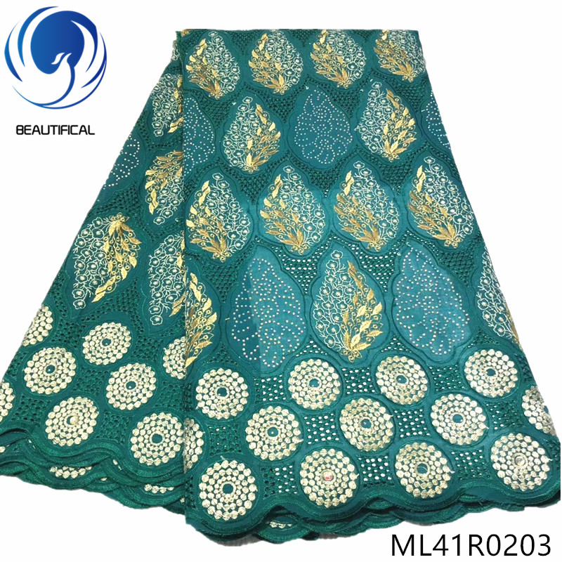 BEAUTIFICAL Cotton dry lace fabrics High quality nigerian voile swiss lace fabric with stones embroidery for dress ML41R02
