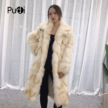 Pudi TX223906 women winter classic warm Real fox fur coat jacket overcoat lady fashion genuine outwear