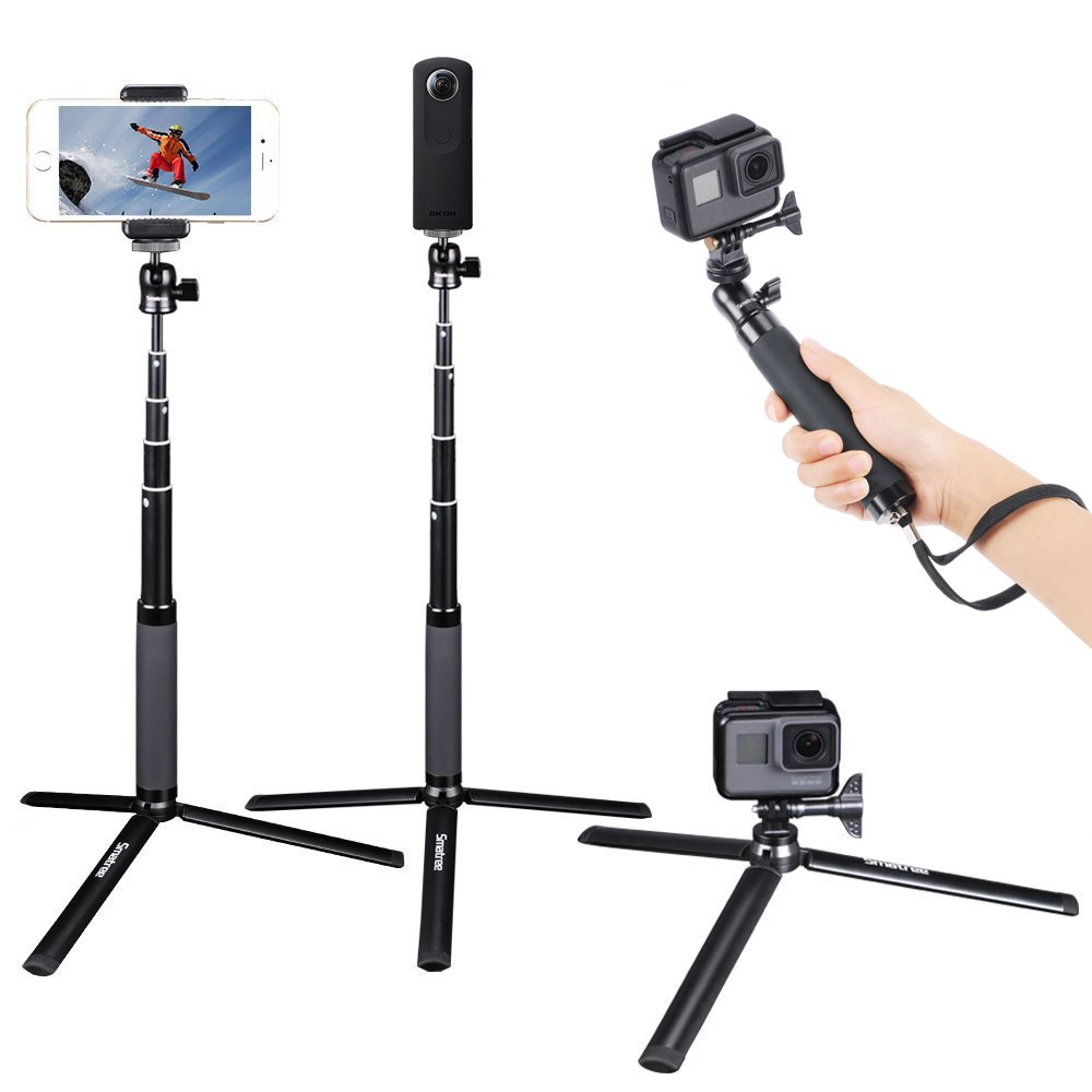 Smatree SQ2 bâton de Selfie monopode portatif télescopique pour GoPro Hero 7/6/5/Gopro Hero (2018)/Yi action, pour caméra Ricoh Theta S