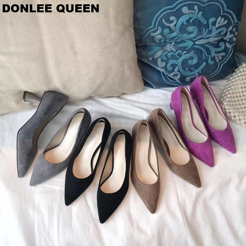 Shoes Women Pumps Pointed Toe Shallow Heels Work Shoes Fashion Brand Hoof Heels Office Ladies Pumps Suede Basic Shoes For Dress