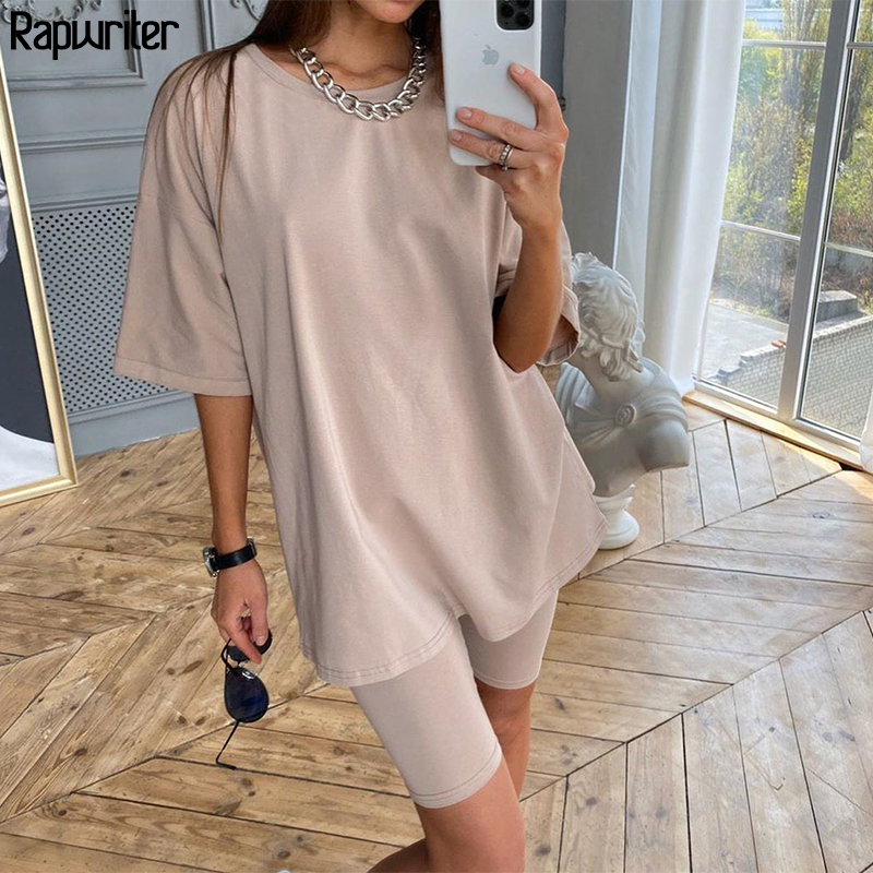 Rapwriter Solid Summer Oversized Tshirt And Shorts Two Piece Set Women Slim Shorts Long Tee Shirt Outfits Femme Biker Track Suit