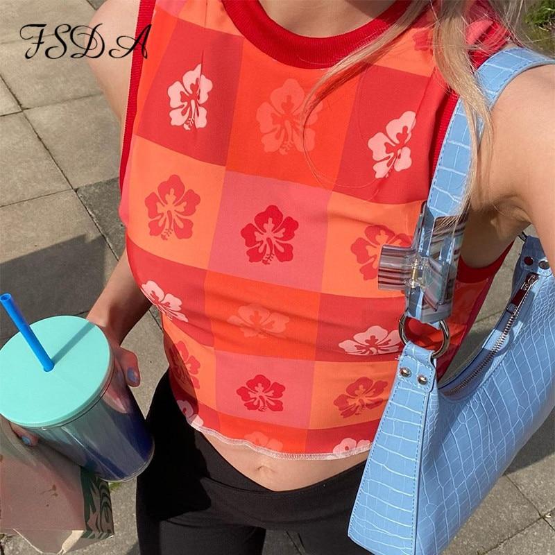 FSDA 2021 летние Y2K принт Топ для женщин зеленое платье без рукавов Повседневная мода; 90S с открытыми плечами пикантные красные топы с бретелькам...