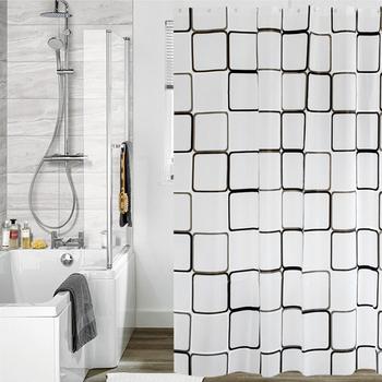Europejska i amerykańska geometryczna łazienka zasłona prysznicowa 3D wodoodporna i odporna na pleśń PEVA zasłona prysznicowa zasłona prysznicowa środowisko tanie i dobre opinie Europa GEOMETRIC 66*666 Ekologiczne Zaopatrzony