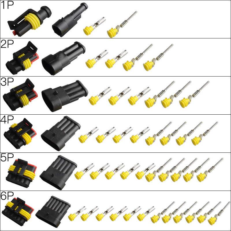 1 Set Kit 1 2 3 4 5 6Pin Cara Cuaca Pack Auto Konektor Tahan Air Weatherpack Konektor Kawat Listrik