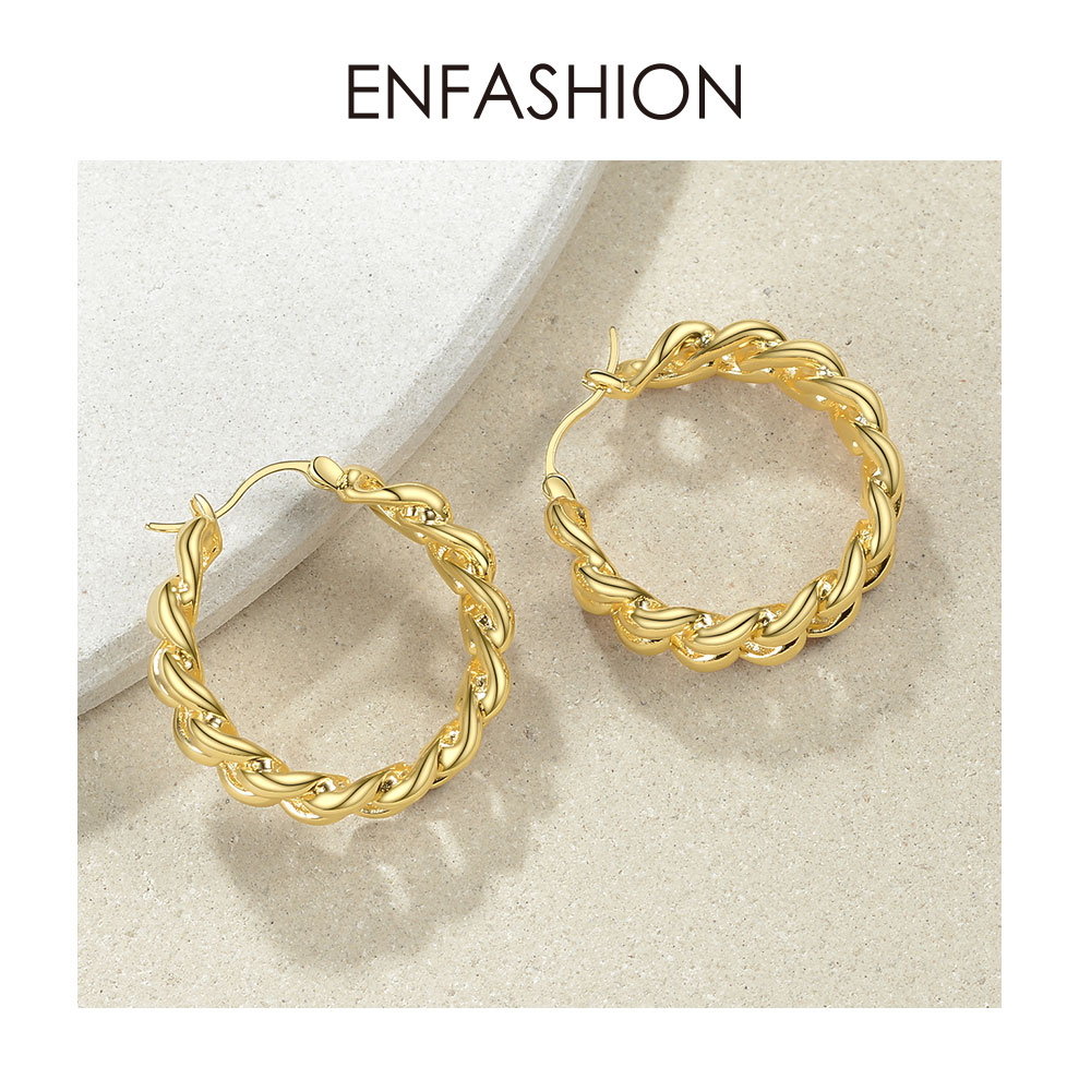 Image 3 - ENFASHION Punk Small Link Chain Hoop Earrings For Women Gold Color Round Hoops Earings Fashion Jewelry Pendientes Mujer E191088Hoop Earrings   -