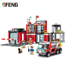 City Series The Fire Station Model Building Blocks Fire engine Bricks DIY Educational Kids Toy For Children Birthday Gifts