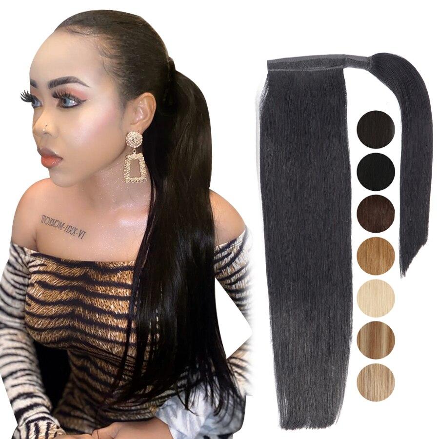 MRSHAIR Ponytail Hair Extensions Machine Remy Wrap Around Tail Human Hair Full Head Clip In Hairpins 14