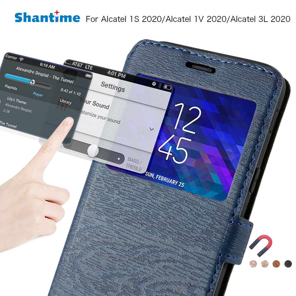 PU Leather Phone Case For Alcatel 1S 2020 Flip Case For Alcatel 1V 2020/Alcatel 3L 2020 View Window Case Silicone Back Cover(China)