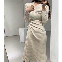 Французский плиссированное платье на шнурке для женщин в Корейском