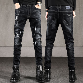 Men Jeans Ripped Classic Spring Autumn Male Slim Straight Stretch Brand Denim Pants Overalls Fit