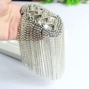 Image 3 - Moda artesanal ombro jóias borla strass epaulettes acessórios de vestuário broche epaulet broches ombro