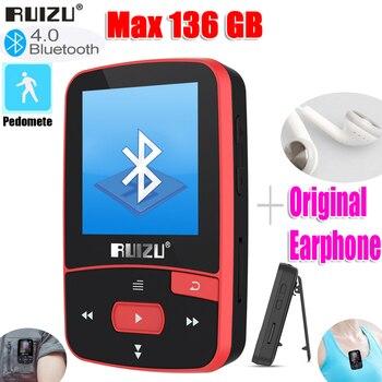 Nueva llegada Original RUIZU X50 del deporte Bluetooth MP3 reproductor de 8gb Mini Clip pantalla con compatibilidad con FM grabación... e-book reloj podómetro