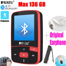 RUIZU reproductor MP3 X50 Sport Original con Bluetooth, 8gb de Clip Mini, pantalla de compatibilidad con FM, grabación, E Book, reloj, podómetro