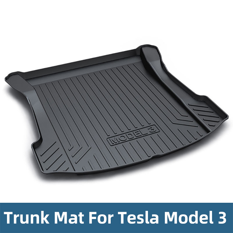 TPO Rubber trunk mat For Tesla Model 3 2017 2018 2019 CAR accessories Black Car Trunk Floor Mats Cargo Liner Rear Tray
