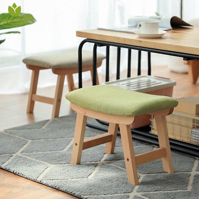 Tabouret en bois massif meubles de maison changement de porte chaussure tabouret tissu nordique Surface souple pouf Table basse tabouret pour salon enfant