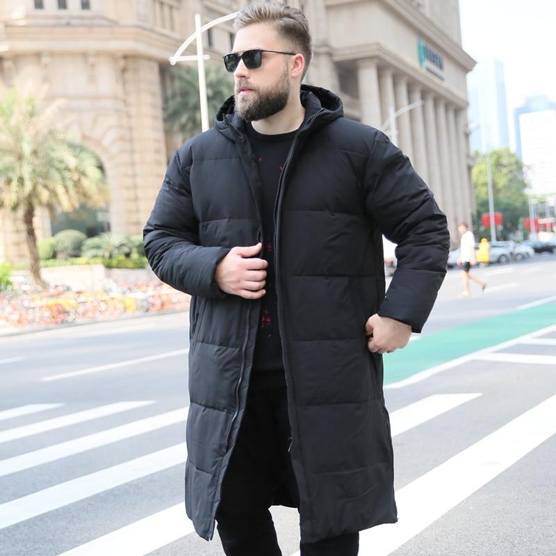 Down Jacket Men Korean Plus Size Winter Coat Men Long White Duck Down Puffer Jacket Warm Doudoune Homme 203WM YY1302