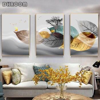 مجردة أبيض وأسود النبات المشارك قماش طباعة يترك جدار صورة فنية الحد الأدنى الحديثة غرفة المعيشة اللوحة الزخرفية