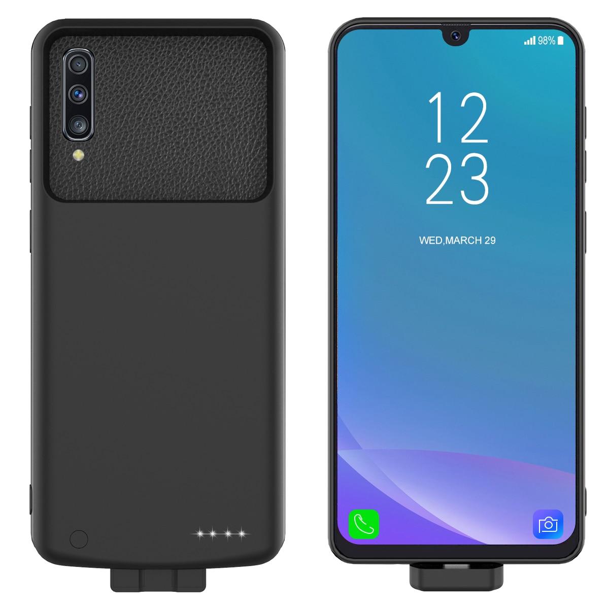 Cep telefonları ve Telekomünikasyon Ürünleri'ten Pil Şarj Kılıfları'de Samsung Galaxy A30s pil şarj cihazı Durumda 7000mAh Harici Yedekleme Şarj Güç Bankası Kapak Samsung A50s Pil Kutusu title=