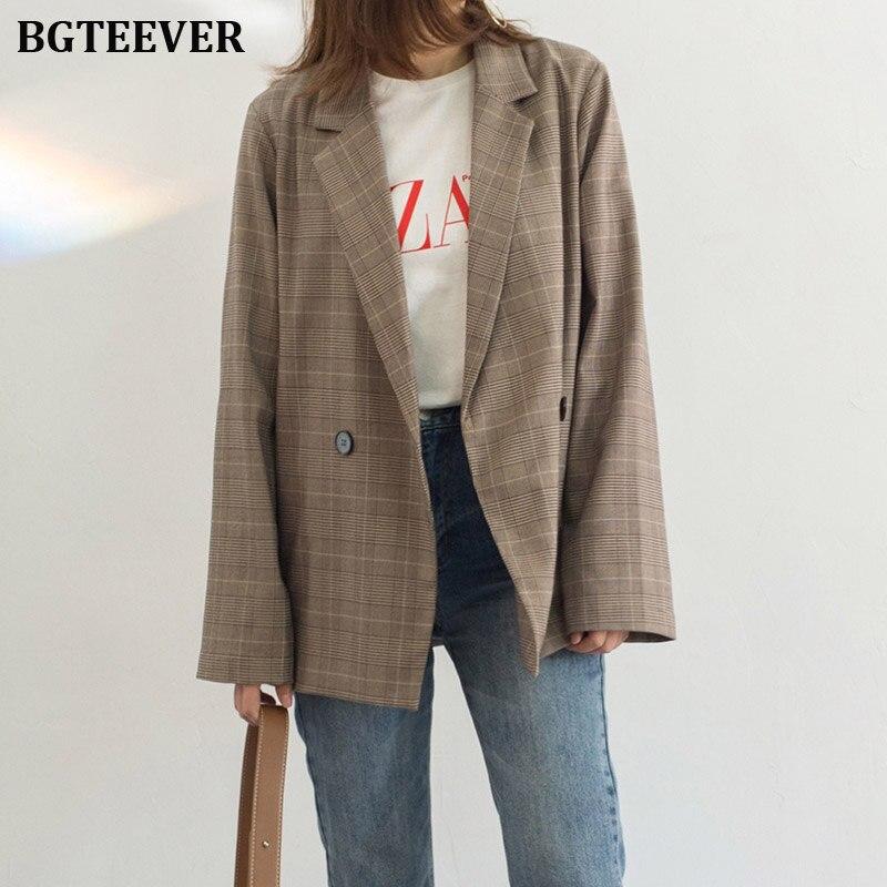 Office Ladies Striped Women Blazers Female Double-breasted Suit Jacket Casual Blazer Jacket Female Loose Coat Streetwear 2019