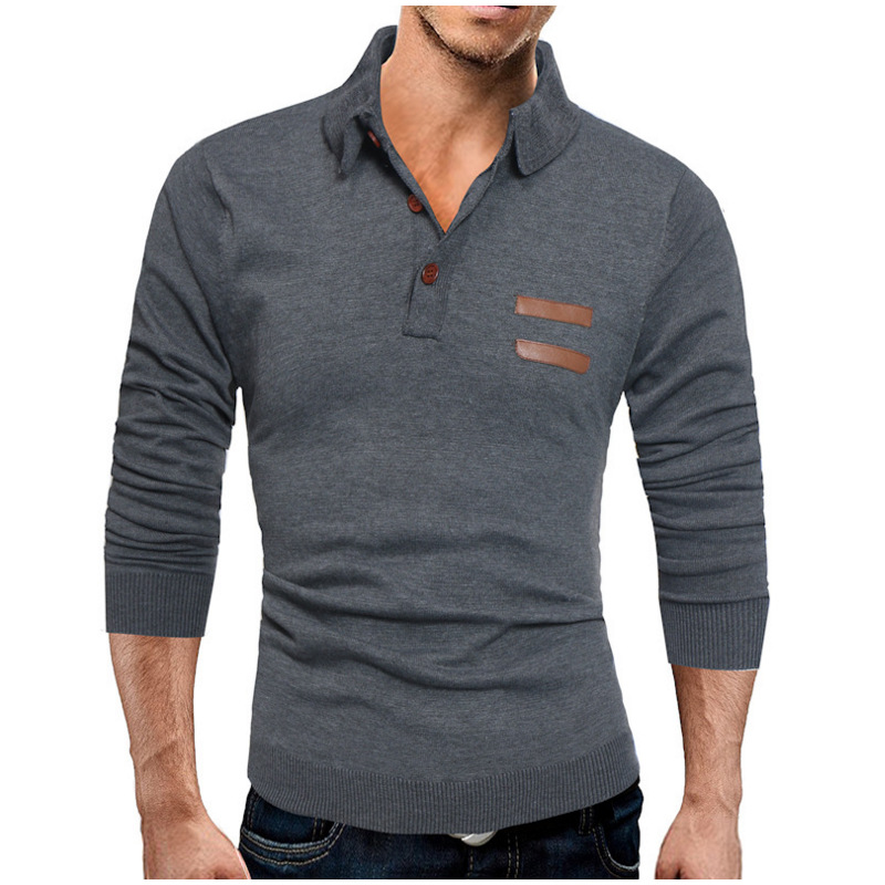 2019 New Autumn Winter Men's Sweater Men's Polo Shirt Solid Color Casual Sweater Men's Slim Fit Brand Knitted Pullovers SA-8